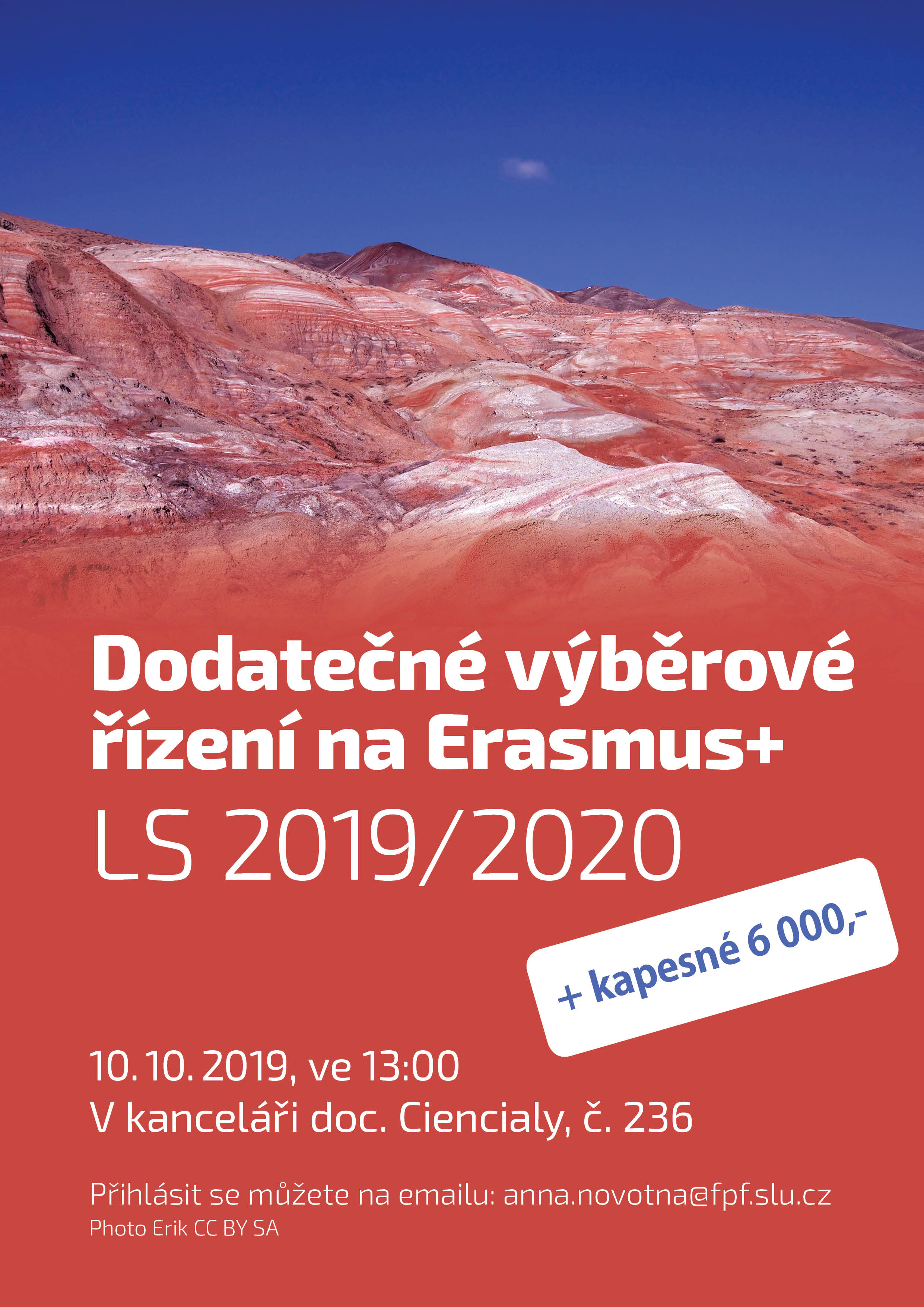 Dodatečné výběrové řízení - Erasmus - 2019